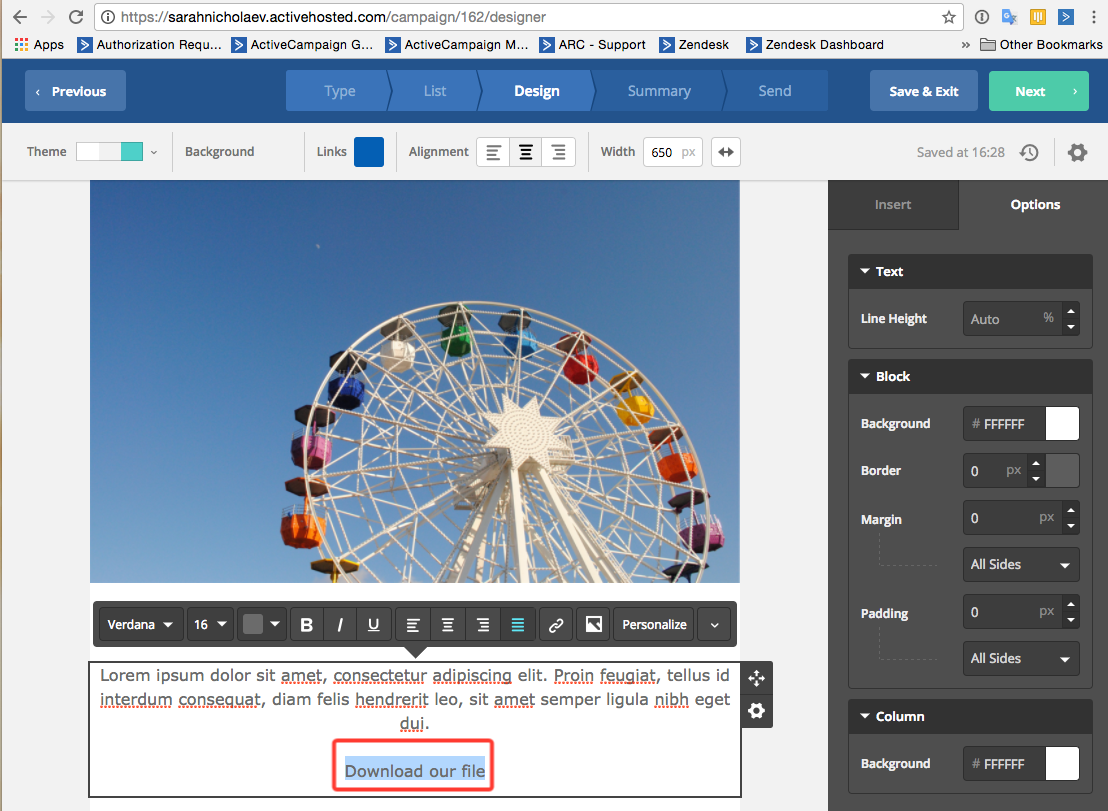 Adding a Dropbox file to your campaign – ActiveCampaign Help Center